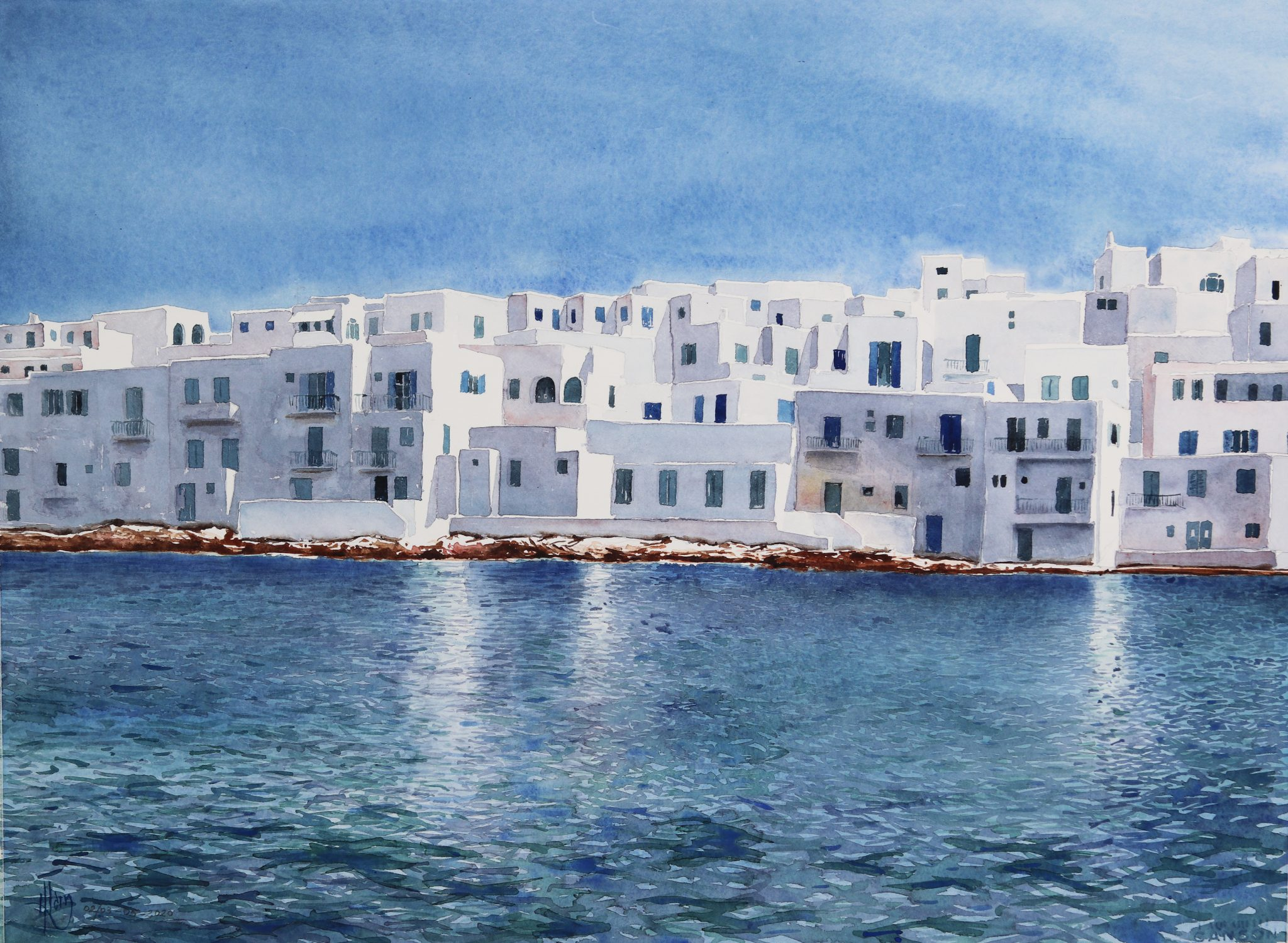 Paros Naoussa Façades sur le port  56x76