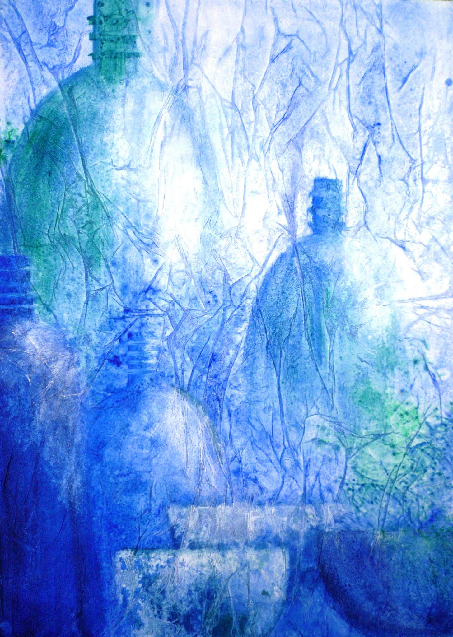 composition en bleu - 60x50cm