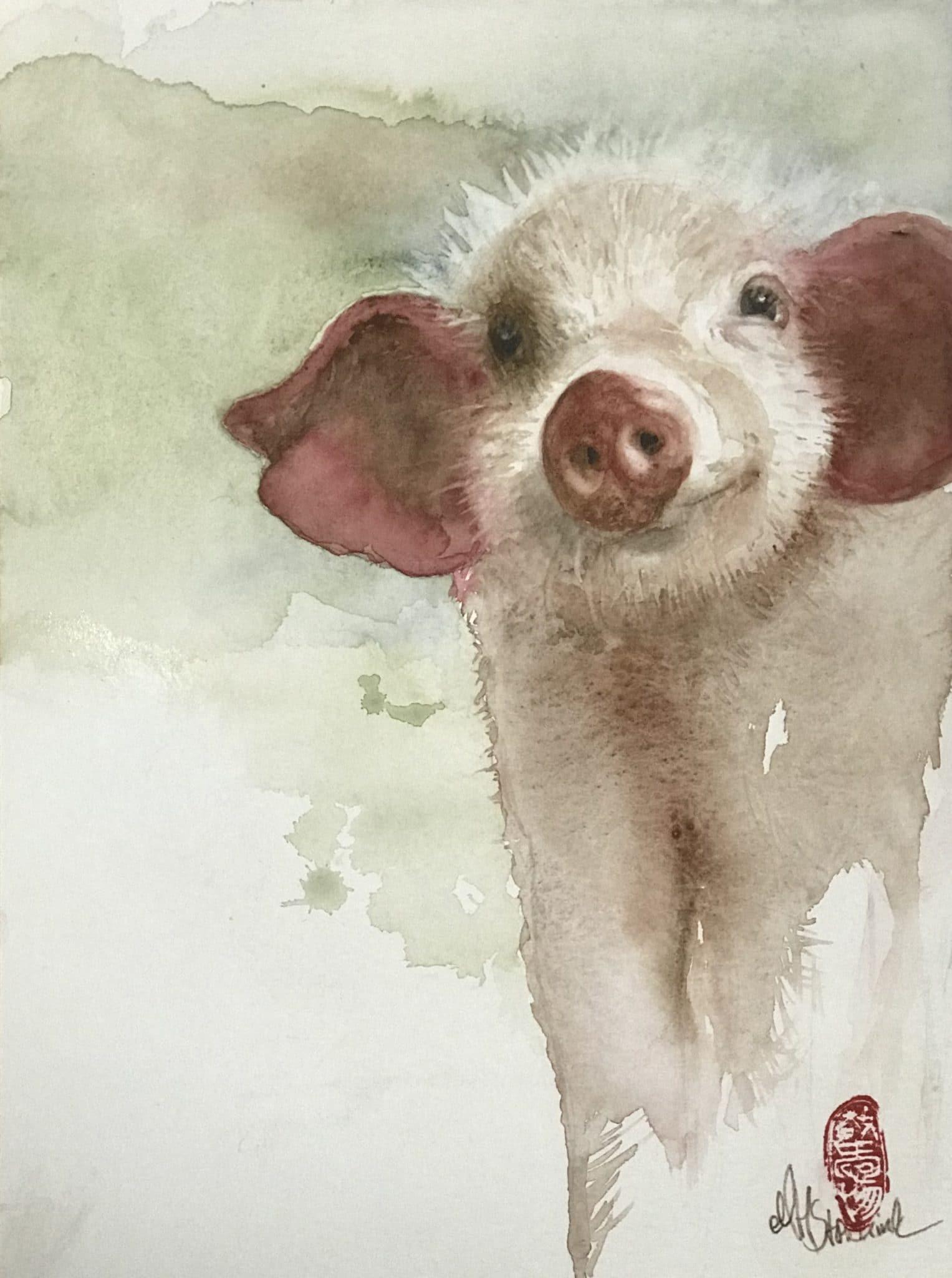 Curious Little Piggy - 30x40cm