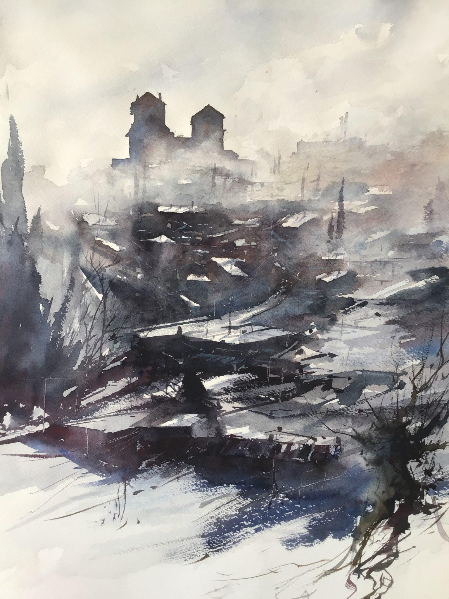 Brume sur la ville basse - 53x35cm