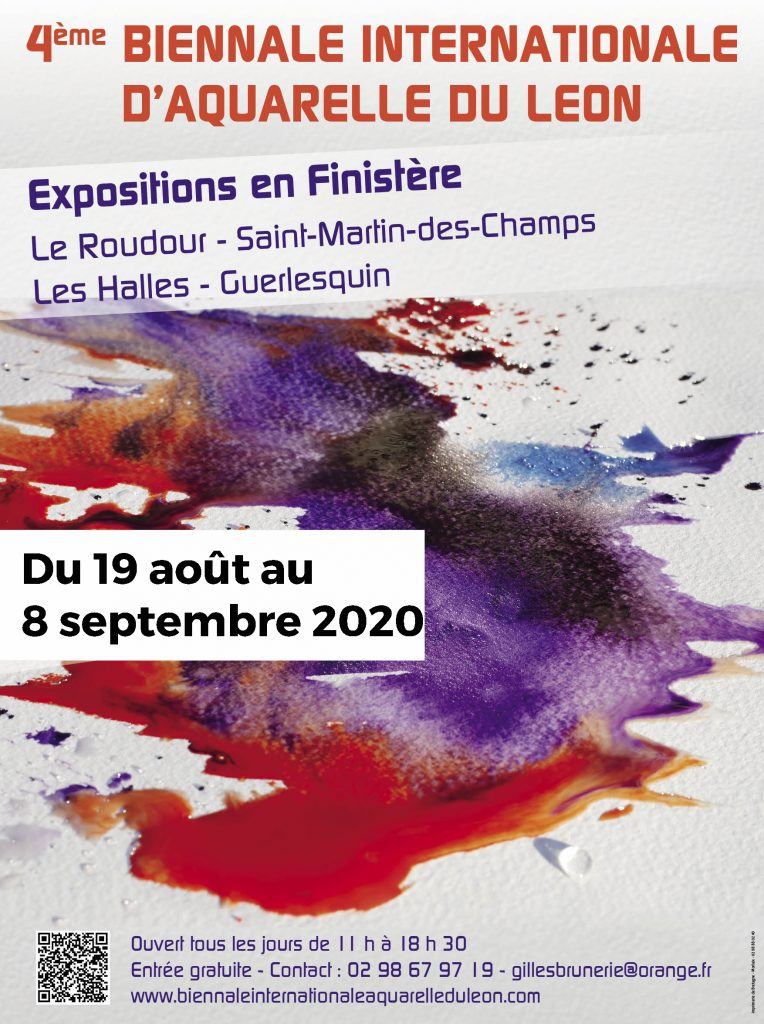 Affiche 4ème biennale internationale d'Aquarelle du Leon