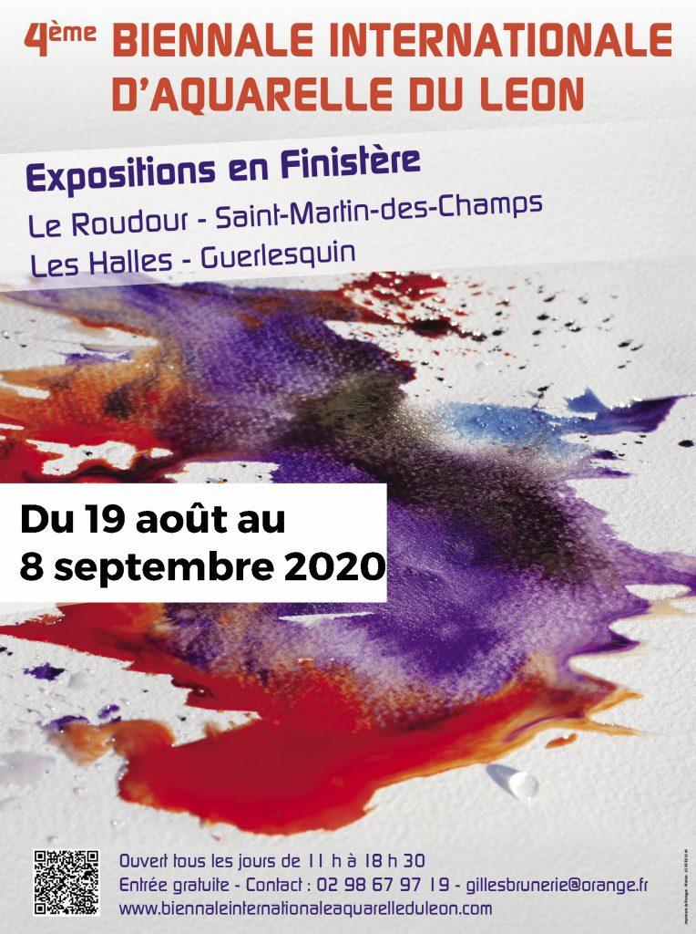 Affiche 4ème biennale internationale d'Aquarelle du Leon