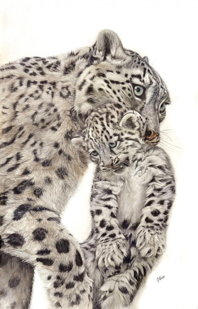"""""""Amour panther des neiges"""" (120x80 cm)"""