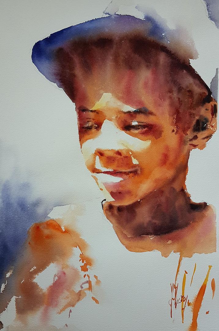 """""""Enfant à la casquette"""" (40x55 cm)"""