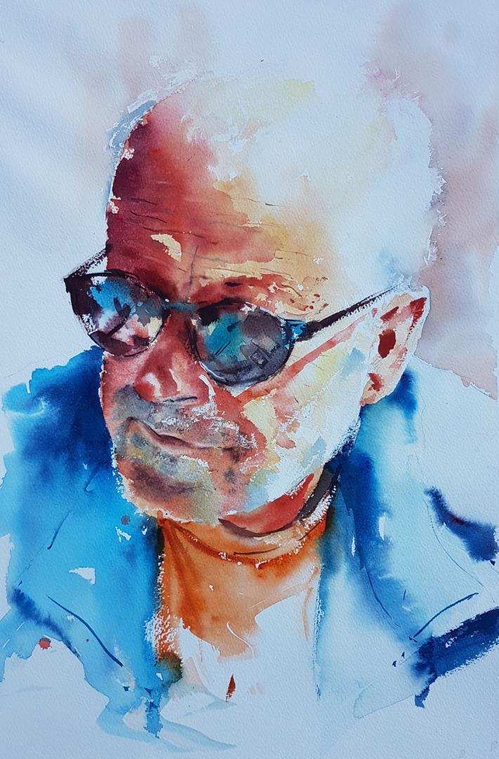 """""""Homme aux lunettes de soleil"""" (40x55 cm)"""
