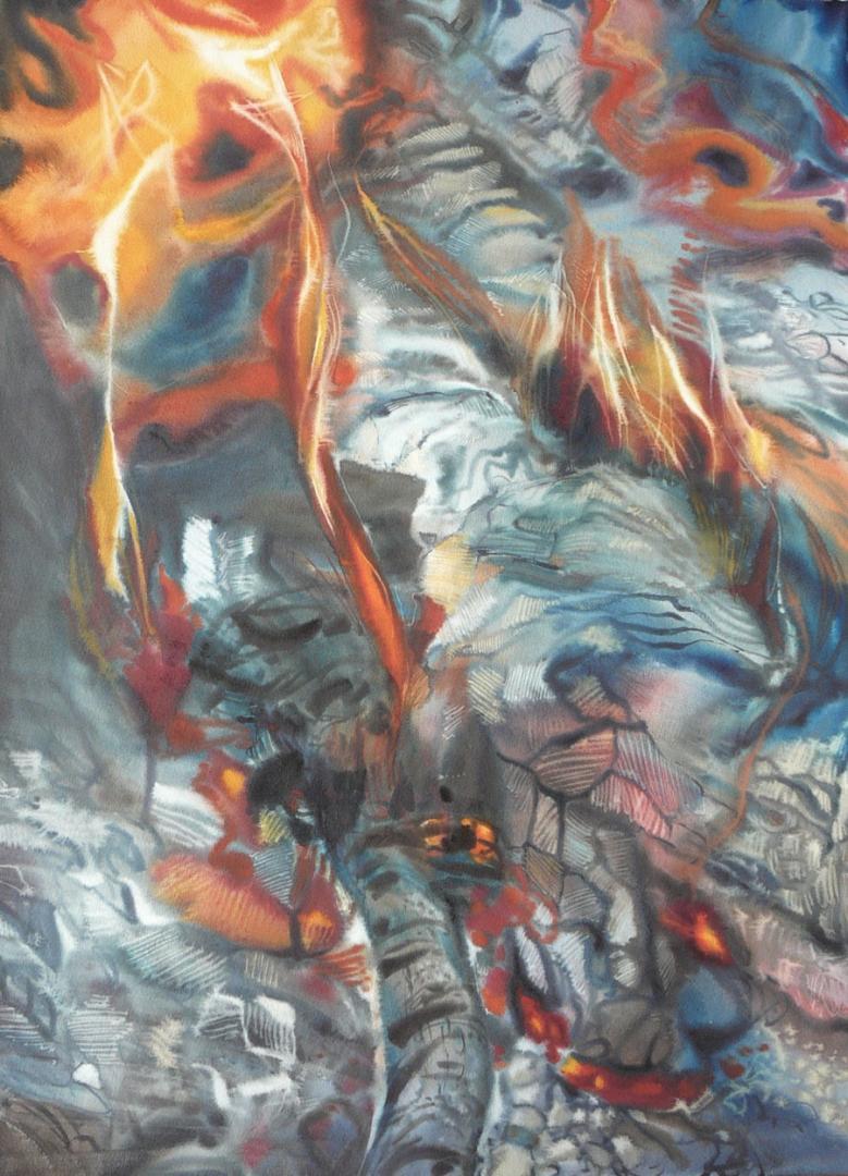 """""""Force, les braises"""" (100x73 cm)"""